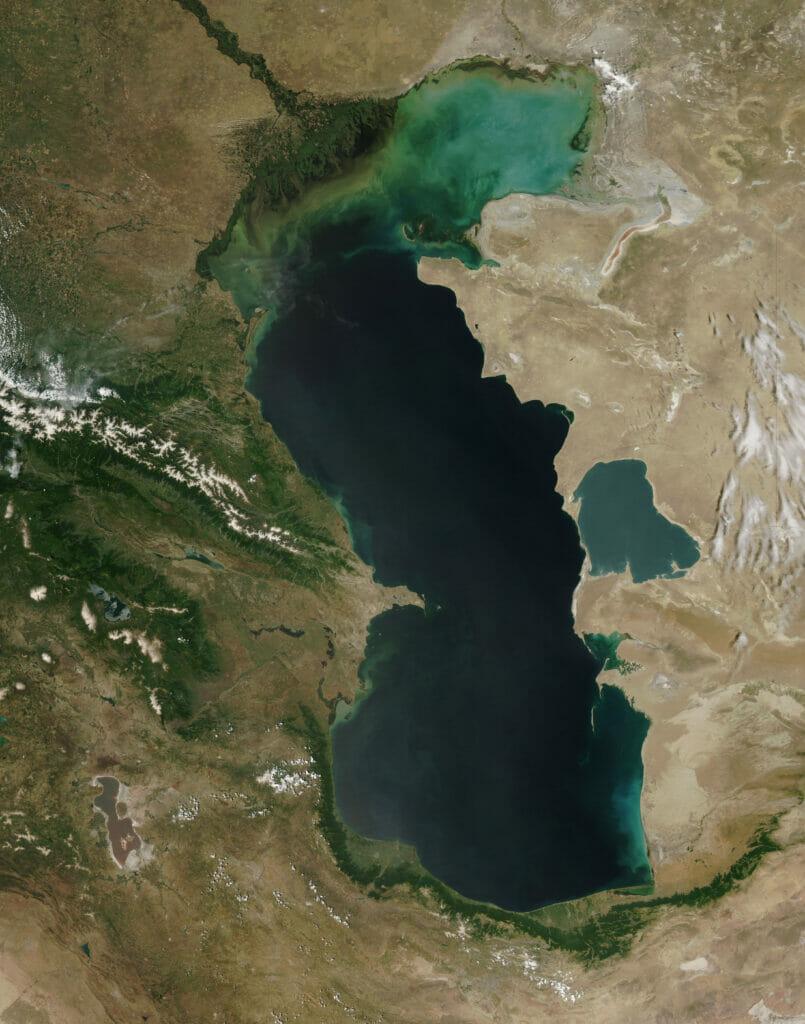 عکس ماهوارهای دریای کاسپین از فضا