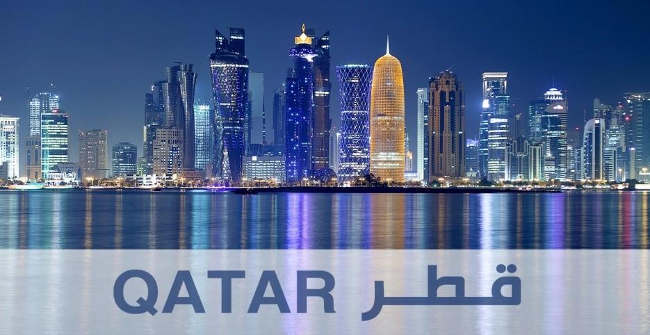 نمایی زیبا از برجهای قطر در شب از خلیجفارس