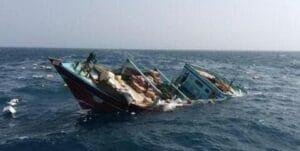 غرق شدن شناور سنتی لنج باری صیادی در دریا