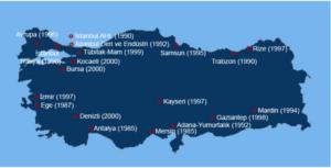 نقشه مناطق آزاد ترکیه