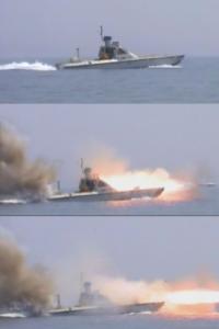 شلیک راکت از شناور بدون سرنشین یامهدی در رزمایش پیامبر اعظم ۵