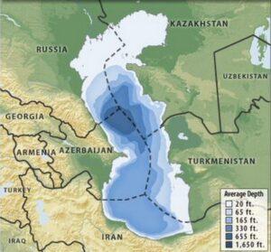 نقشه و اینفوگرافیک عمق دریای خزر ( کاسپین )