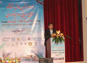 حسین ابراهیم زاد فاضل رئیس انجمن مهندسی دریایی ایران در بیست و یکمین همایش صنایع دریایی