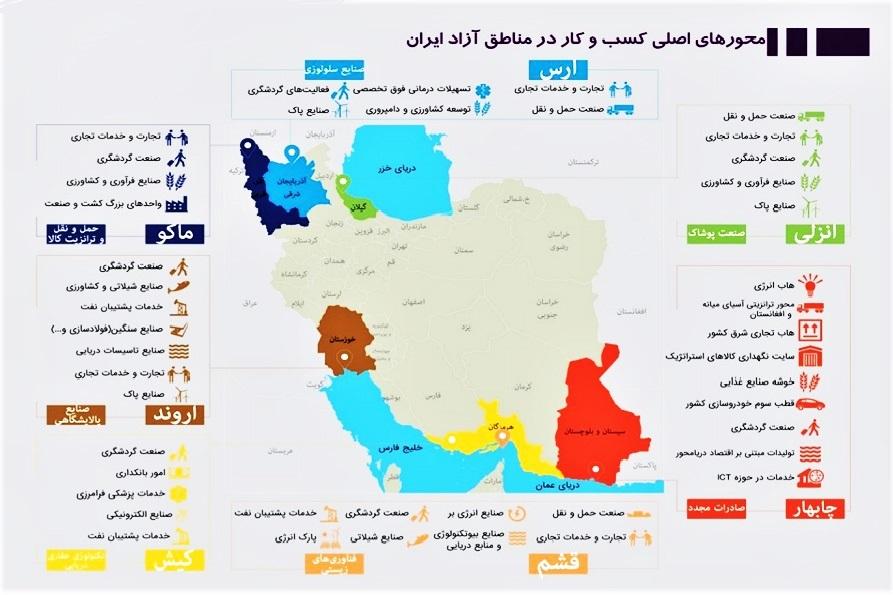 نقشه مناطق آزاد تجاری اقتصادی کشور