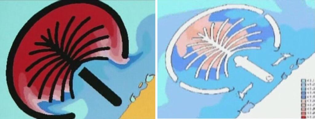 تحلیل کامپیوتر وضعیت آب بدون بریدگی در هلال محافظ (چپ) و وضعیت جریان آب با اضافهشدن بریدگی در هلال (راست) جزیره نخل دبی
