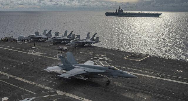 تمرینات شبانهروزی ناوهای هواپیمابر آمریکایی در دریای چین جنوبی