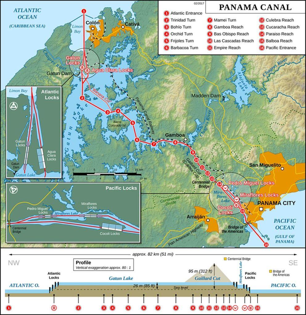 موقعیت جغرافیایی کانال پاناما