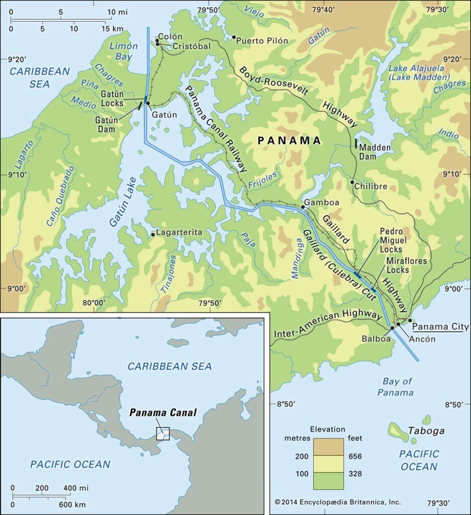 نقشه جغرافیایی کانال پاناما