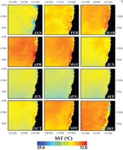نقشه درجه حرارت سطح آب های مجمع الجزایر اسپرموند اندونزی