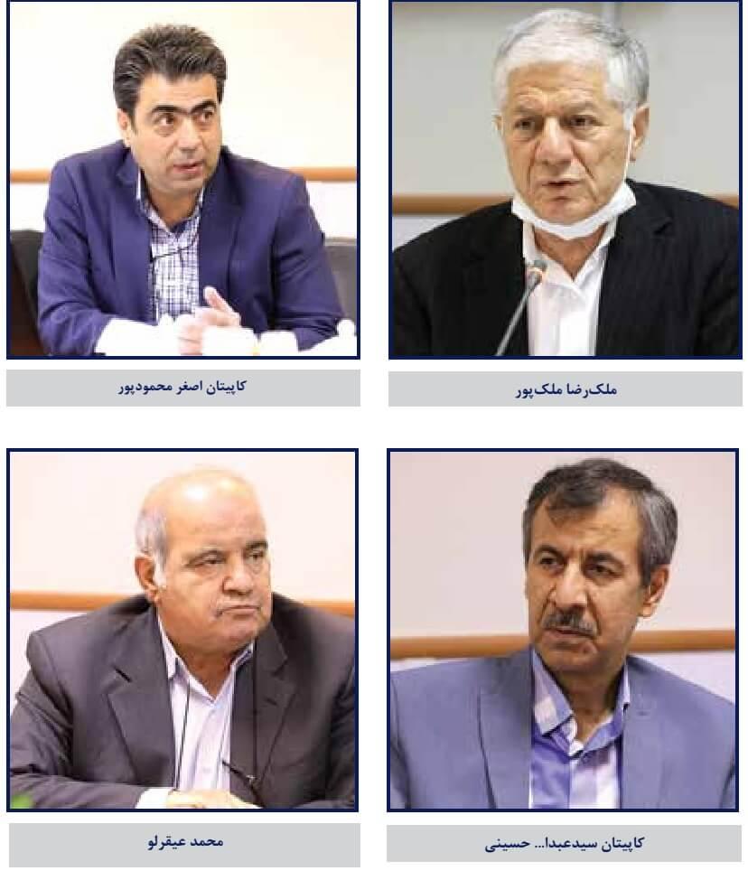اعضای حاضر در میزگرد تخصصی بررسی آثار کرونا بر صنعت حملونقل دریایی ایران