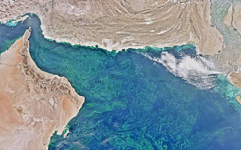 تصویر ماهوارهای از سواحل مکران و خلیج فارس و دریای عمان