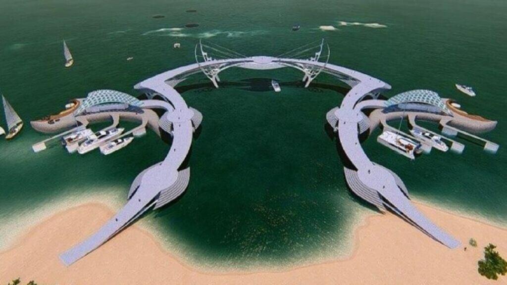 ساخت اسکله دریایی جدید با معماری مدرن در ساحل مرجان جزیره کیش