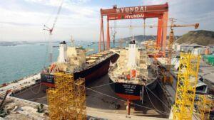 ساخت کشتی نفتکش تانکر در یارد کشتیسازی هیوندای کرهجنوبی