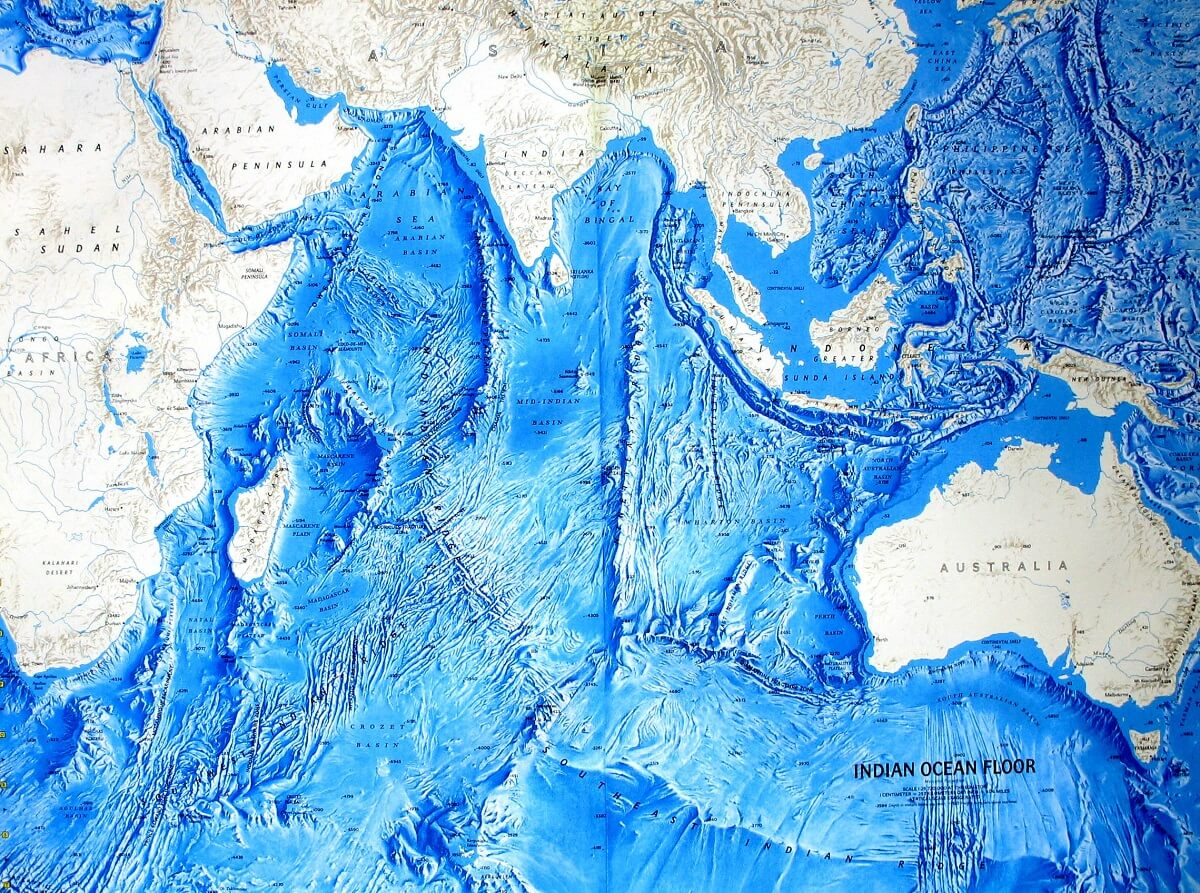 نقشه بستر دریا و کف اقیانوسی اقیانوس هند