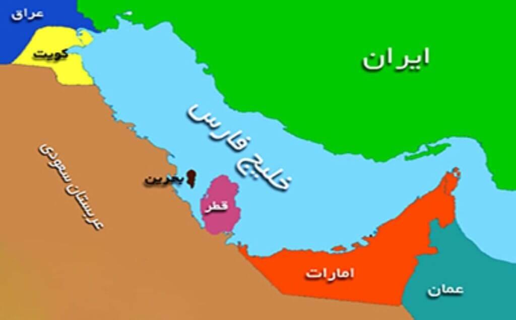 نقشه کشورهای حوزه خلیج فارس