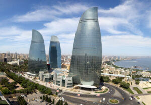 برجهای سه قلو شعله بندر باکو آذربایجان - flame towers baku