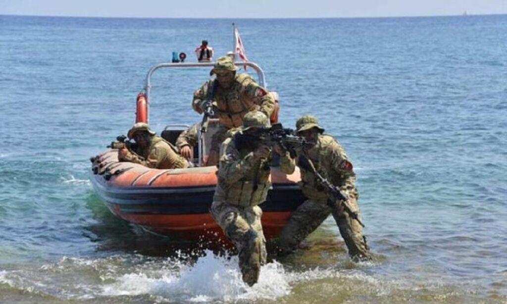 تمرینات نظامیان نیروی دریایی ترکیه در سواحل لیبی