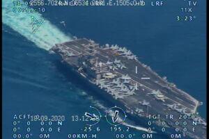 رصد ناو هواپیمابر نیمیتز توسط پهپاد ایرانی نیروی دریایی سپاه