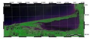 عکس ماهواره ای از تحلیل دهانه خلیج گرگان در سال 1399-2020