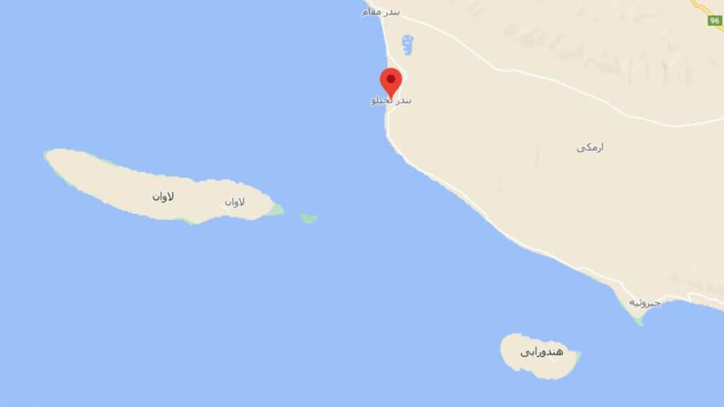 موقعیت اسکله بندر نخیلو بندر لنگه و جزیره لاوان و جزیره هندورابی و بندر مقام بر روی نقشه