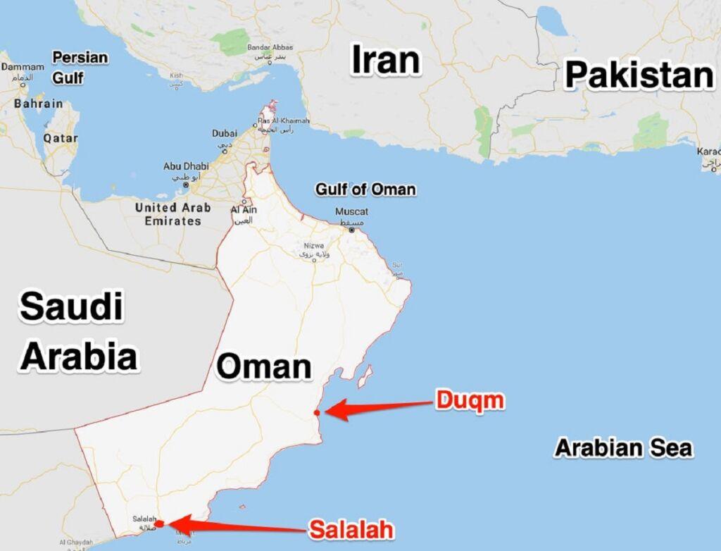 موقعیت بنادر استراتژیک صلاله و دقم عمان بر روی نقشه