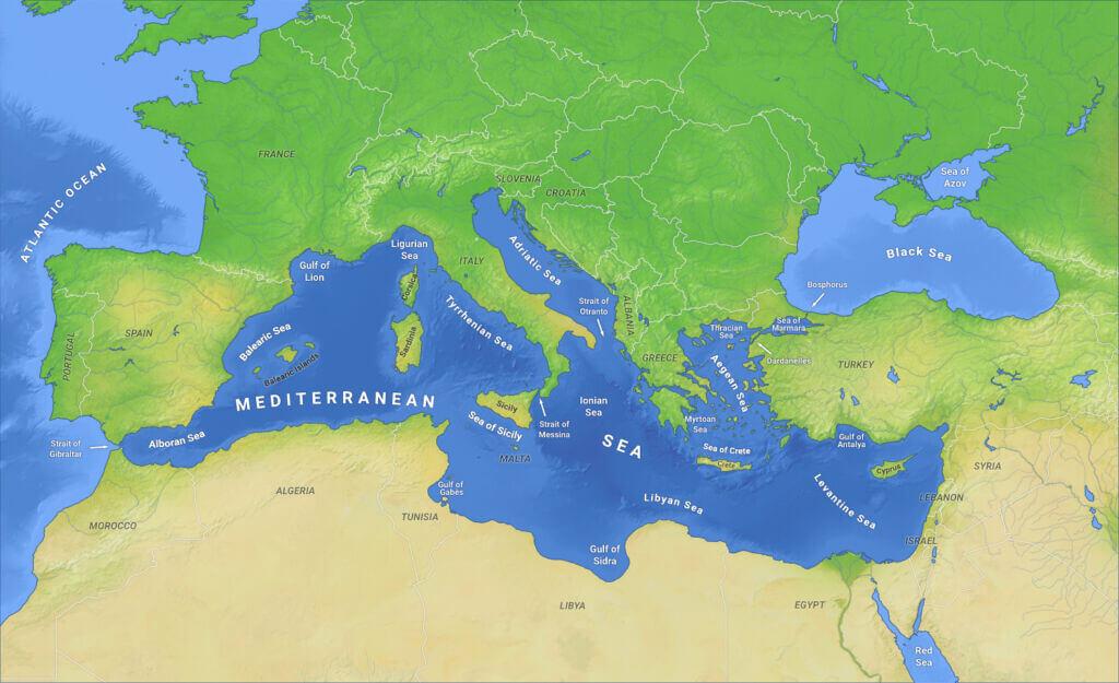 نقشه جغرافیایی دریای مدیترانه
