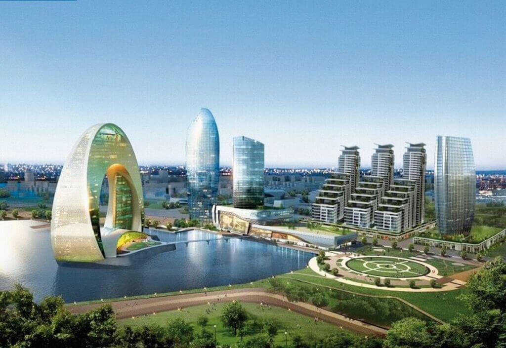 هتل هلالی شکل مجلل در ساحل دریای بندر باکو آذربایجان