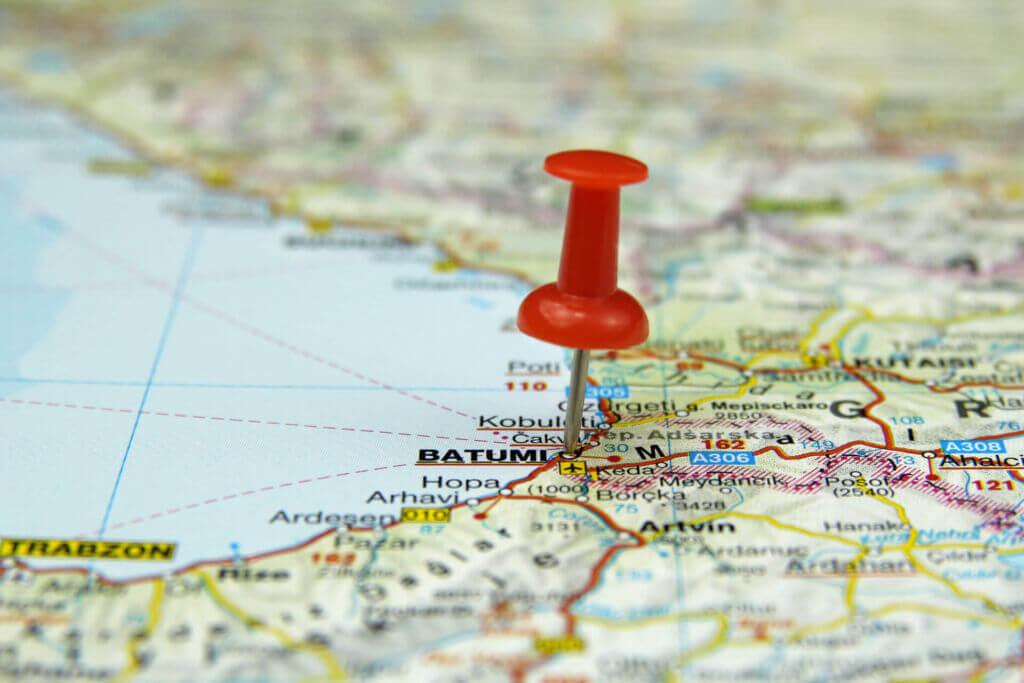 بندر باتومی گرجستان روی نقشه