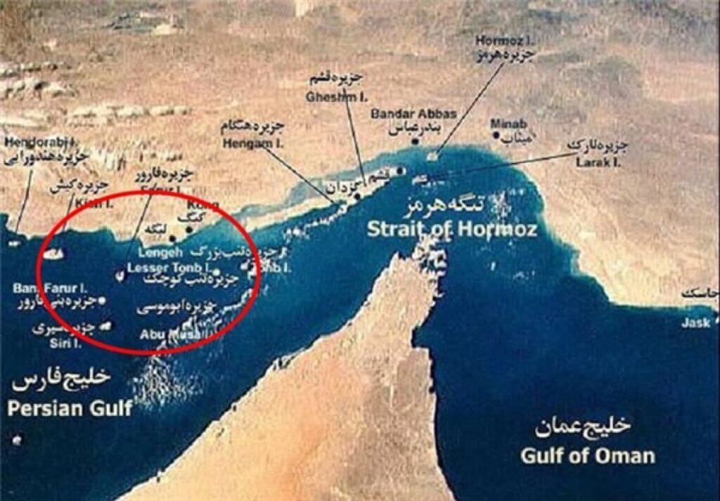 نقشه جزایر جنوب ایران و تنگه هرمز و خلیج فارس و دریای عمان