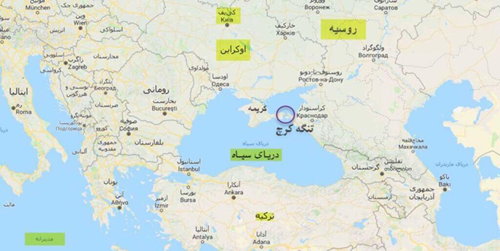 نقشه محل انفجار دو نفتکش روسی در تنگه کرچ