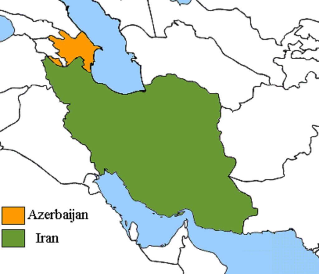 نقشه همسایگی ایران و آذربایجان