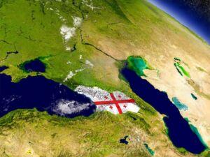 نقشه کشور گرجستان با پرچم