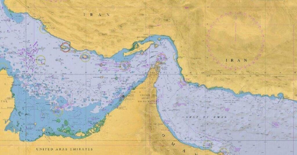 چارت دریایی خلیج فارس و دریای عمان
