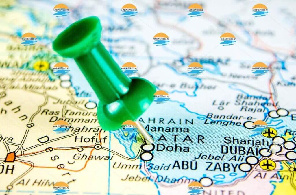بندر دوحه روی نقشه - doha poer city map