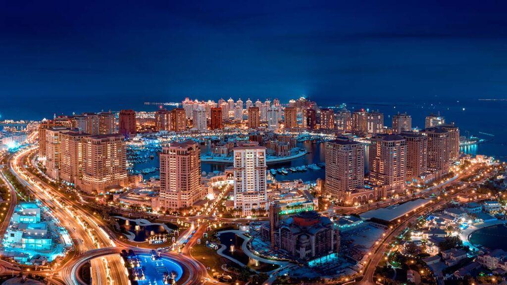 جزیره مروارید دوحه قطر در شب
