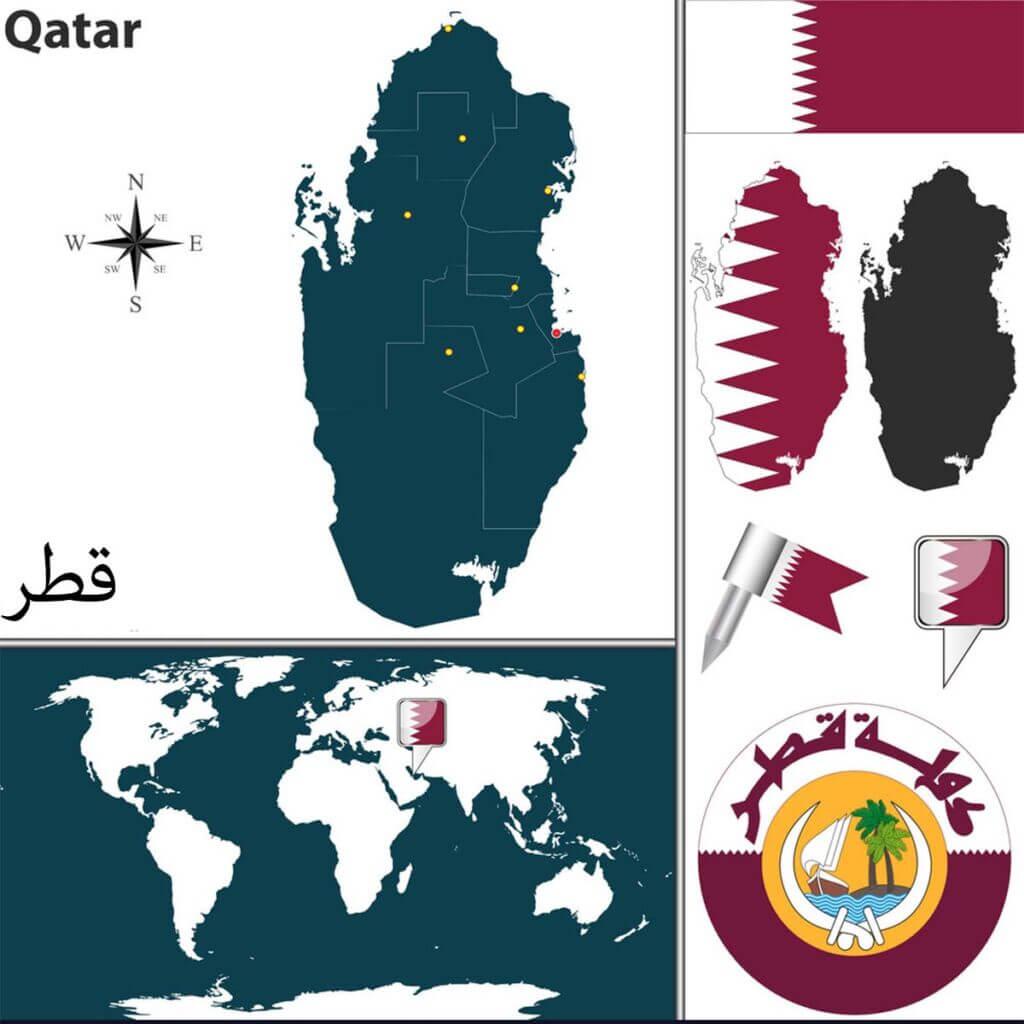 نقشه، پرچم و نشان قطر