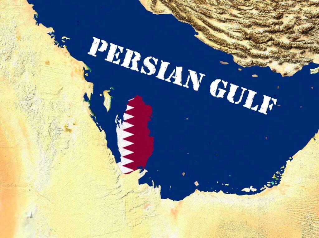 پرچم قطر داخل نقشه - Qatar Flag into map country