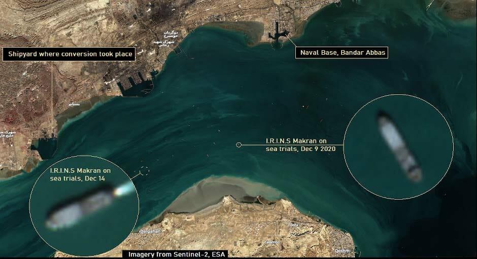 تصویر ماهوارهای از ناو بندر مکران