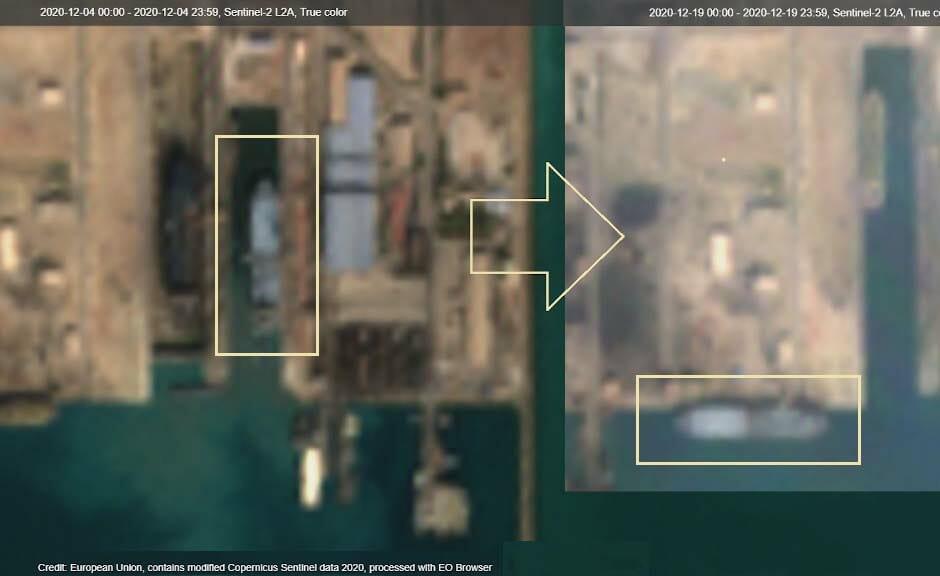 تصویر ماهواره ای از ناو بندر مکران در یارد کشتی سازی