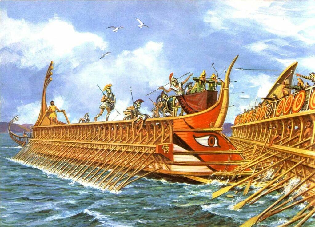 جنگ دریایی ایرانیان باستان با کشتی مخصوص