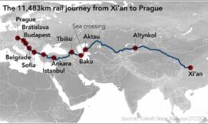 مسیر ریلی و راهآهن چین به ترکیه و اروپا