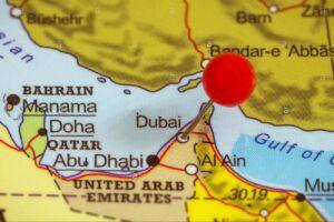 نقشه پین شده شهر بندری دوبی