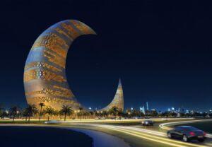 برج ماه دبی در شب - moon tower in Dubai at night