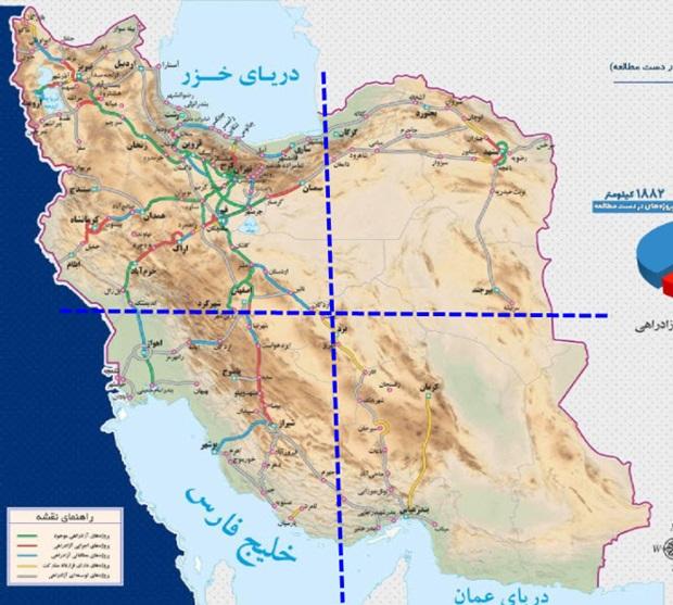 تراکم جاده و بزرگراه های ایران روی نقشه