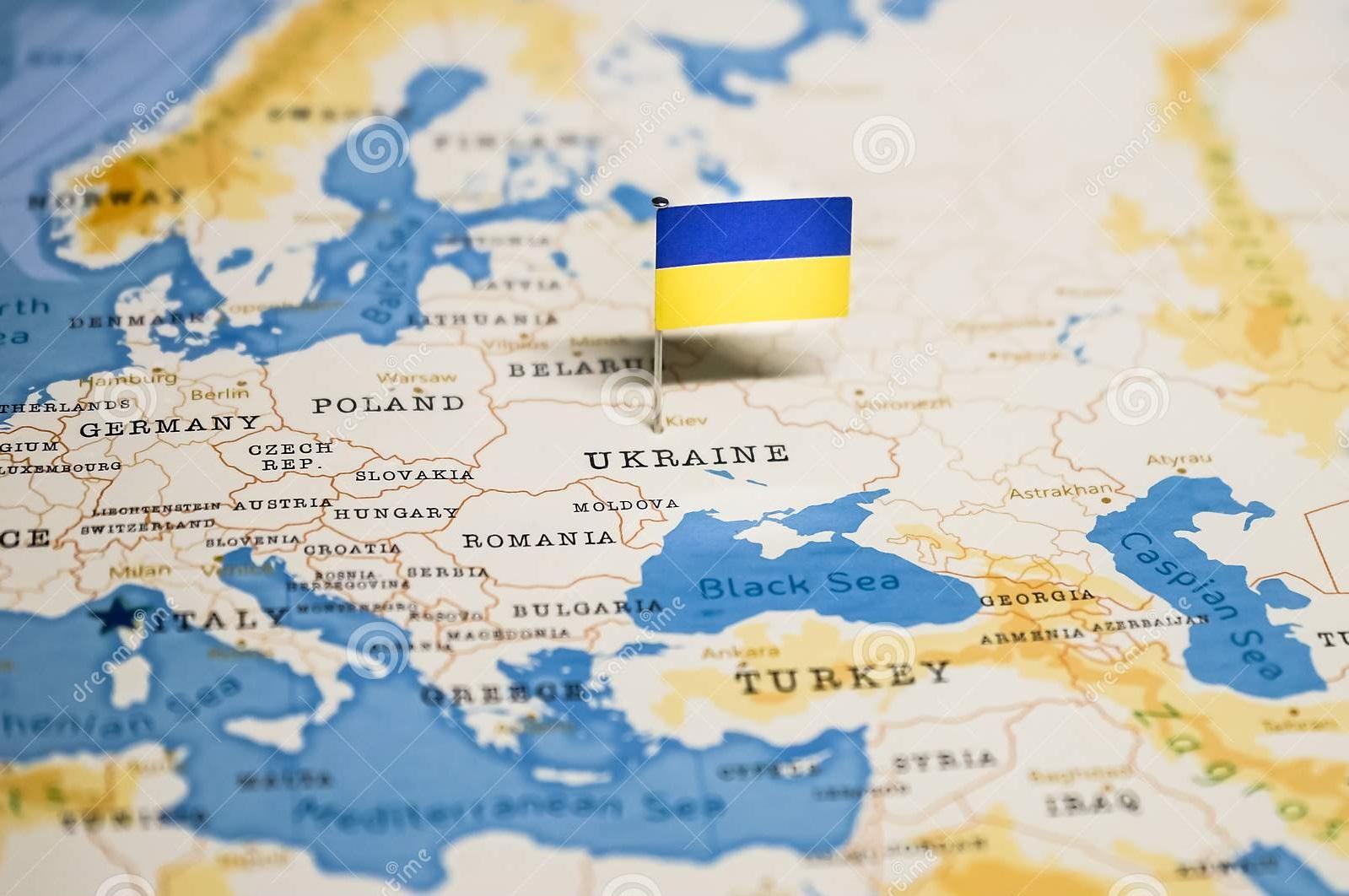 پرچم اوکراین روی نقشه کشور