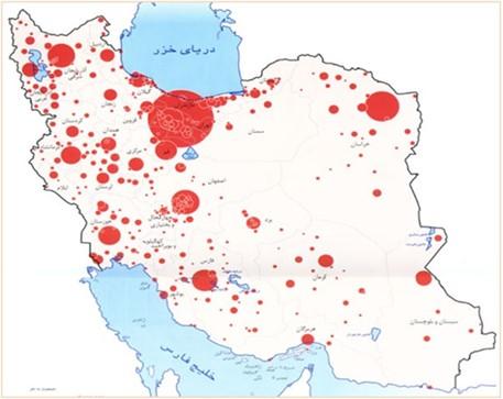 توزیع جمعیت فعلی و شهرهای کشور