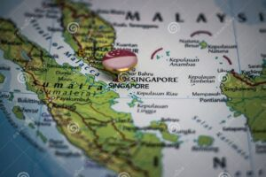 سنگاپور پرچم روی نقشه